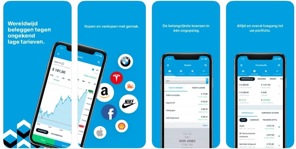 DEGIRO Mobiel beleggen app, aandelen kopen app, beste beleggingsapp, beurs app